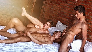 Big cock men threesome gay sex