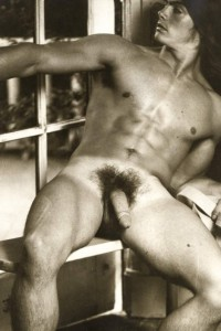 Sexy muscle men with hairy pubes and big cock