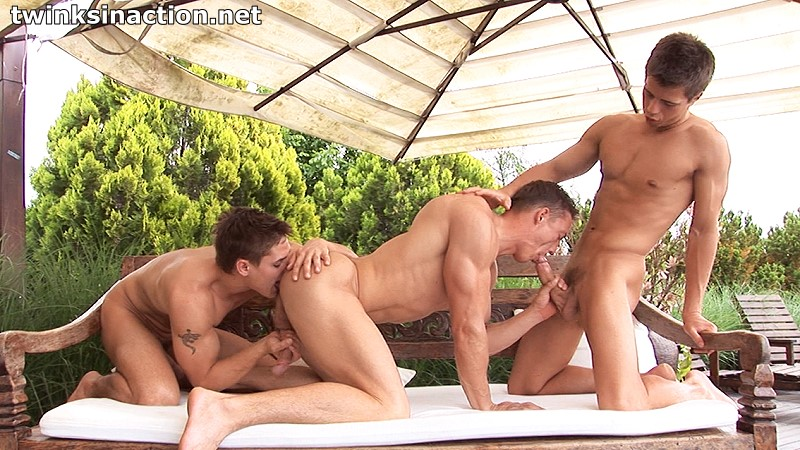 outdoor gay threesome
